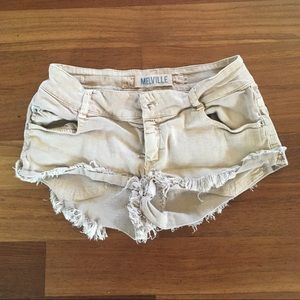 Brandy Melville shorts jeans tan beige sz 0 38 sm